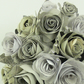 Crossword paper flower bouquet rose bridal posy & matching groom's buttonhole