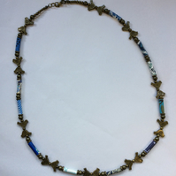 Blue Birds Paper Bead Necklace