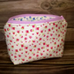Make up bag, Cream with small pink flowers, Lined, Handmade in Cornwall, gift