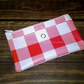 Red checked coin purse, Made with PVC vinyl, Small front pocket for stamps,