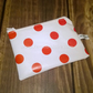 Ladies coin purse, White with red spots, made with pvc vinyl, wipe clean