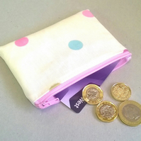 Coin purse in cream with pastel spots