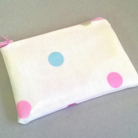 Coin purse in cream with pin spots, card holder, gift for her