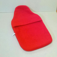 Hot water bottle cover in red fleece, envelope closure, lovely and warm