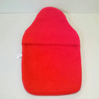 Hot water bottle cover in red fleece