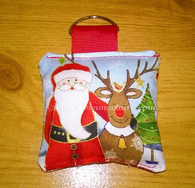 Christmas key ring with Santa and reindeer