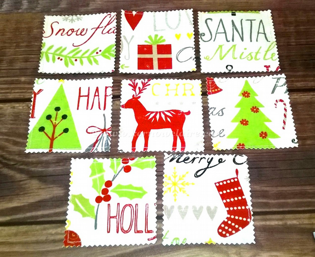 Christmas coasters set of eight in oilcloth
