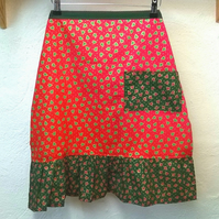 Christmas Apron in red with Christmas trees pattern