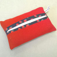 Red tissue holder with tissues, pocket sized, new