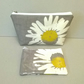 Make up bag and coin purse gift set, grey with large daisy