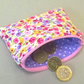 Coin purse in pink and lilac flowers, padded and lined, ladies gift