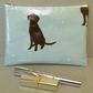 Blue make up bag with dog pattern, handmade in oilcloth, Labrador, gift