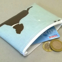 Coin purse in pale blue with dog pattern, handmade, wipe clean, fits cards