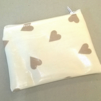 Cream coin purse with beige hearts, ladies card holder, wipe clean, new
