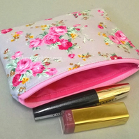 Grey make up bag with pink flowers, padded and lined