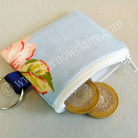 Mini coin purse in blue with pink flowers, key ring