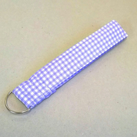 Ladies wrist key ring in lilac gingham checks