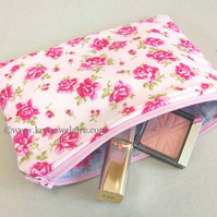 Pink make up bag with pink flowers