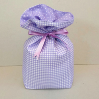 Door stop in purple gingham fabric (unfilled)