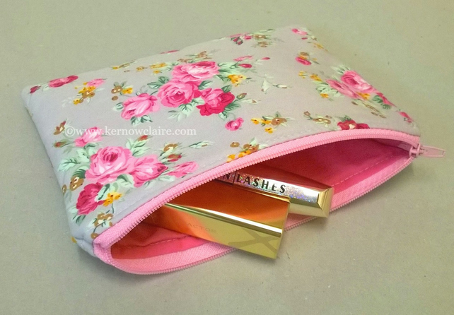 Make up bag in grey with pink flowers, lined in pink, free postage in the UK