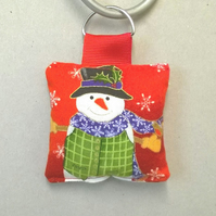Christmas Key ring with snowman pattern, festive key ring
