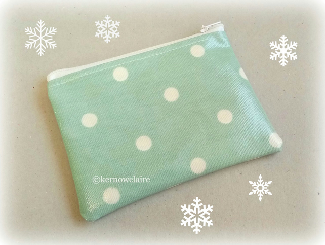 Coin purse in pale turquoise with white spots, Free UK postage, new