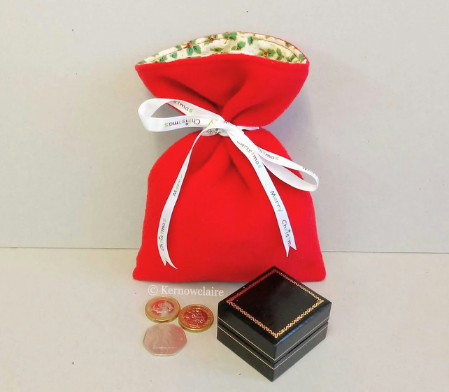 Christmas gift bag in red fleece