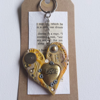 polymer clay Steampunk yellow and peach loveheart keyring