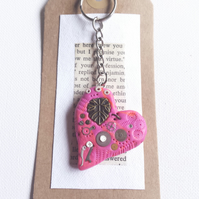 Polymer clay Steampunk pink loveheart keyring