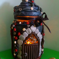 Polymer clay Gothic house tea light holder