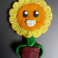 Polymer clay Sunflower fridge magnet
