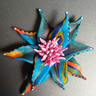 Polymer clay multi-coloured flower fridge magnet