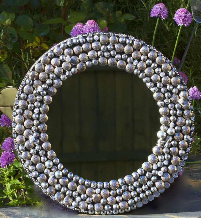Silver coloured circular embellished mirror frame folksy for Embellished mirror frame