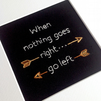 'When nothing goes right' - Hand Embroidered Wall Art - Textile Art - Framed