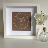 'Happily ever after' - Embroidery - Textile Art - Framed wall art