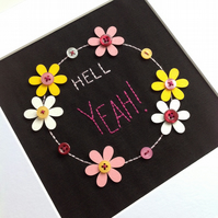 'Hell YEAH' - Embroidery - Textile Art - Framed wall art