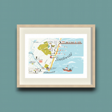 A4 Limited Edition Illustration -  Illustrated map of Southwold & Walberswick