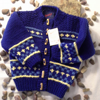Boys Fairisle Aran  Cardigan  with wool   12-18 months size