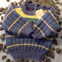 SALE ITEM Luxery Baby Boys Aran jumper with wool  12 months size