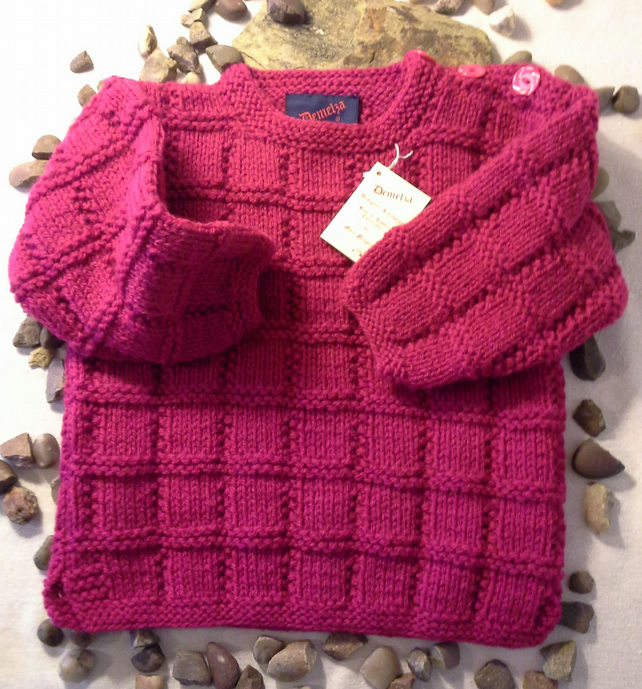 Girls Pink Aran Jumper 18-24 months