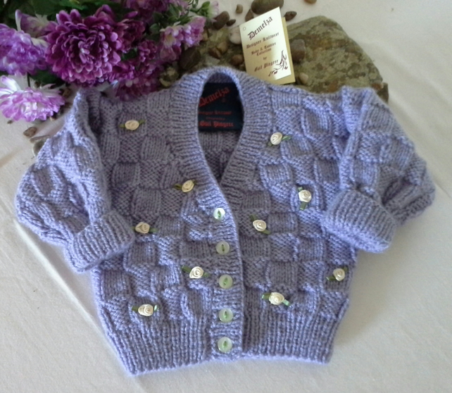 Baby Girl's Hand Knitted Cardigan 0-6 months