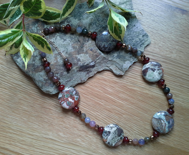 Statement  Jasper, Agate & Haematite  Sterling Silver Necklace