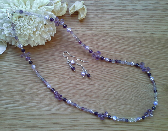 Special Offer Price  Amethyst  & Florite 925 Sterling Silver Necklace Set