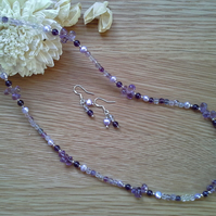Genuine  Amethyst  Fresh Water Pearls & Florite 925 Sterling Silver Necklace Set