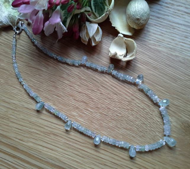Genuine Aquamarine Necklace 925 Sterling Silver