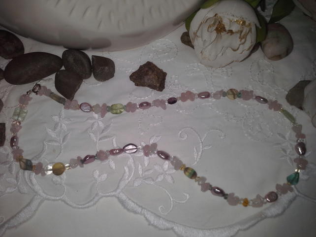 Multi Gemstone & Fresh Water Borgue Pearl Necklace Sterling Silver