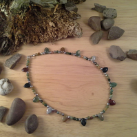 Genuine Jasper & Haematite Choker Style Sterling Silver  Necklace