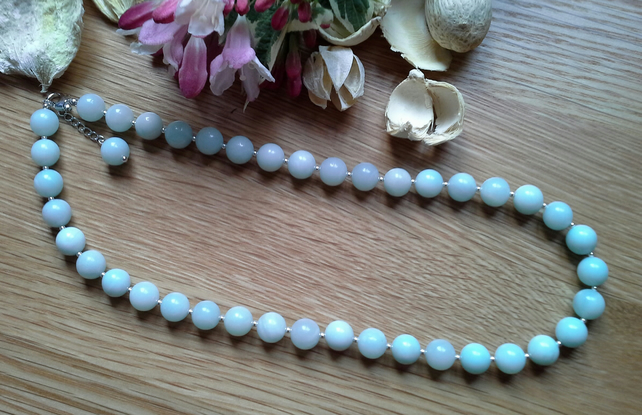 Genuine Russian Amazonite necklace 925 Sterling Silver