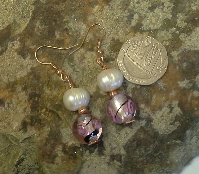 Rose Gold Plated Murano Glass &  Large Fresh Water Culture Pearl Earings