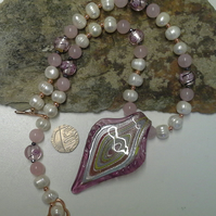Murano Glass , Freshwater Culture Pearls & Rose Quartz Necklace
